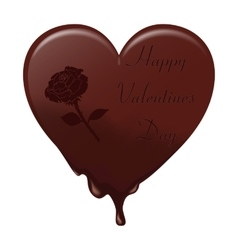 Melting chocolate heart with the inscription vector