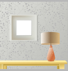 Interior room realistic mockup with frame or vector