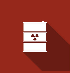 Radioactive waste in barrel flat icon with long vector