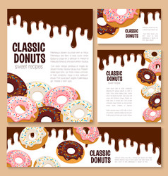 Templates set for donut desserts vector