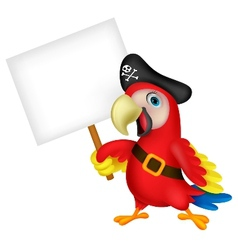 Parrot pirate cartoon with blank sign vector image