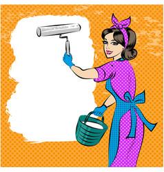 pop art of house painter vector image
