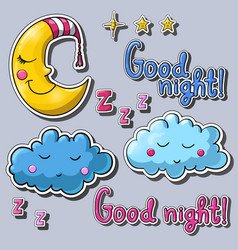 Set of cartoon images about good night vector
