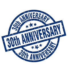30th anniversary blue round grunge stamp vector