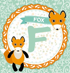 Abc animals f is fox childrens english alphabet vector