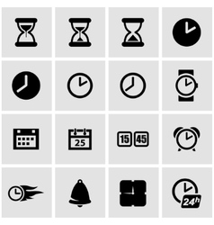 Black time icon set vector