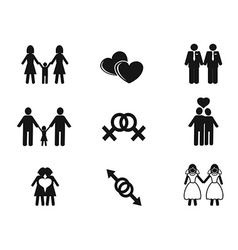 gay and lesbian icons set vector image