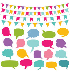 design elements set - bunting and speech bu vector image
