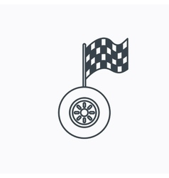 Race icon wheel with racing flag sign vector