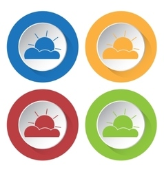Set of four icons - partly cloudy vector