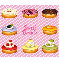 Donuts in different flavor vector