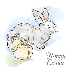 Easter card with rabbit and two eggs vector