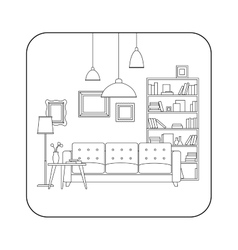 Living room line interior vector