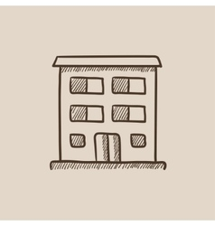 Residential building sketch icon vector