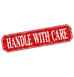 Handle with care red square vintage grunge vector