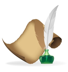 Ancient parchment feather and inkwell vector