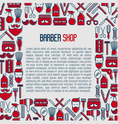 barber shop concept with thin line icons vector image