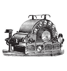 Carding machine vintage vector