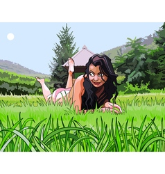 cartoon beautiful girl resting on the grass vector image vector image