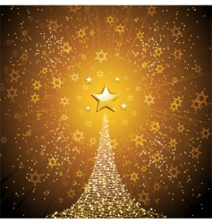 Christmas tree and gold star vector image