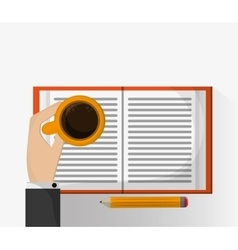 Coffee mug pencil and book design vector