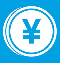 Coin yen icon white vector
