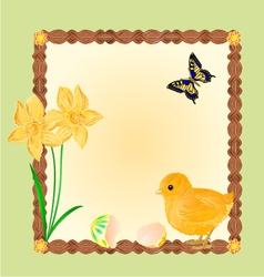 Easter chick with butterflies and daffodils frame vector image vector image