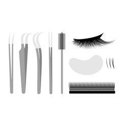 Eyelash extension set professional tools tweezers vector