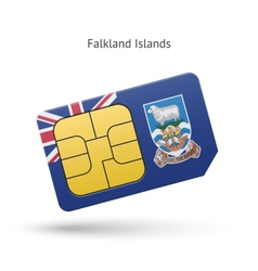 Falkland islands mobile phone sim card with flag vector
