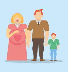 Family together pregnancy son smile vector