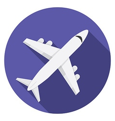 Flat design modern of airplane icon with long vector image vector image