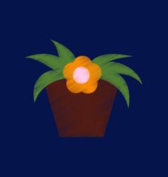 flat shading style icon flowering pot vector image
