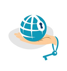 Globe in the hand with key logo template vector