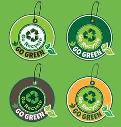 go green go recycle label vector image