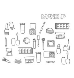 hand drawn makeup set coloring book page vector image vector image