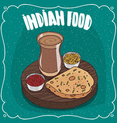 indian round flatbread with sauces and masala chai vector image
