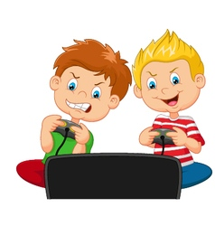 Little boys playing video game vector