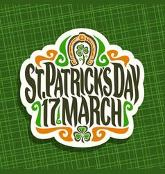 Logo for saint patricks day vector