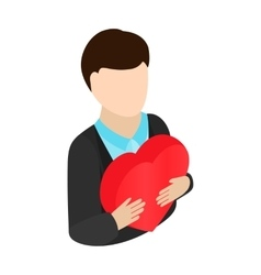 Man gives heart isometric 3d icon vector