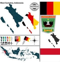 Map of West Sumatra vector image vector image