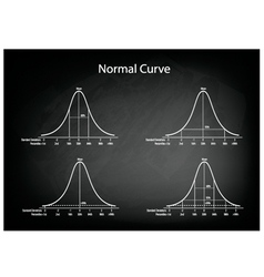 Normal distribution diagram on green chalkboard vector