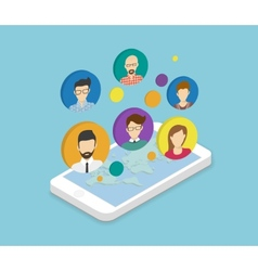 People communication via smartphone app vector image