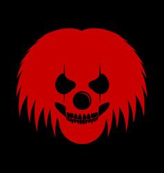 Red clowny messy haired skull head logo symbol vector