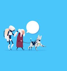 Senior woman walking with robots dog chat bubble vector