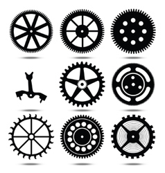 set silhouettes of gears vector image vector image