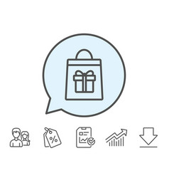Shopping bag with gift box line icon vector