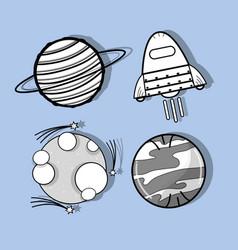 Uranus venus moon and rocket in the space vector