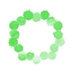 Watercolor green painted circl vector