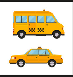 Yellow taxi bus isolated car vector