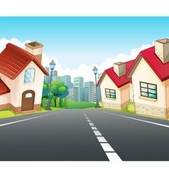 Neighborhood scene with many houses along the road vector image